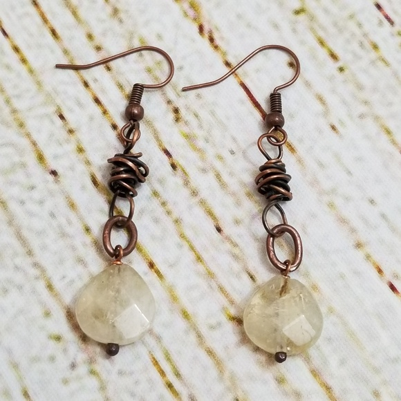 Wren on a Wire Jewelry - Artisan made copper and gemstone earrings